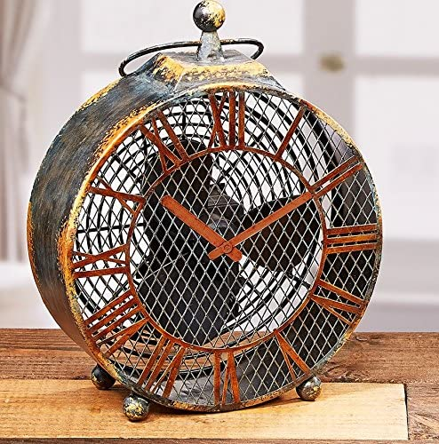 CC Home Furnishings 20.5 Hand Sculpted Distressed Finish Antique-Style Clock Table Top Figure Fan