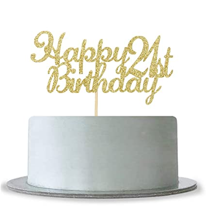 Image Unavailable Not Available For Color Happy 21st Birthday Cake Topper
