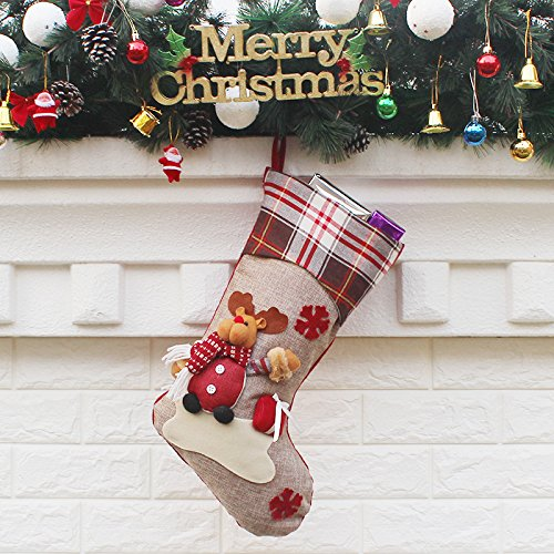 Christmas Stocking Set of 3, Xmas Sock Sack Gift Bag for Tree Decoration Christmas Ornament Candy Pouch Bag Theme Santa, Snowman, Reindeer