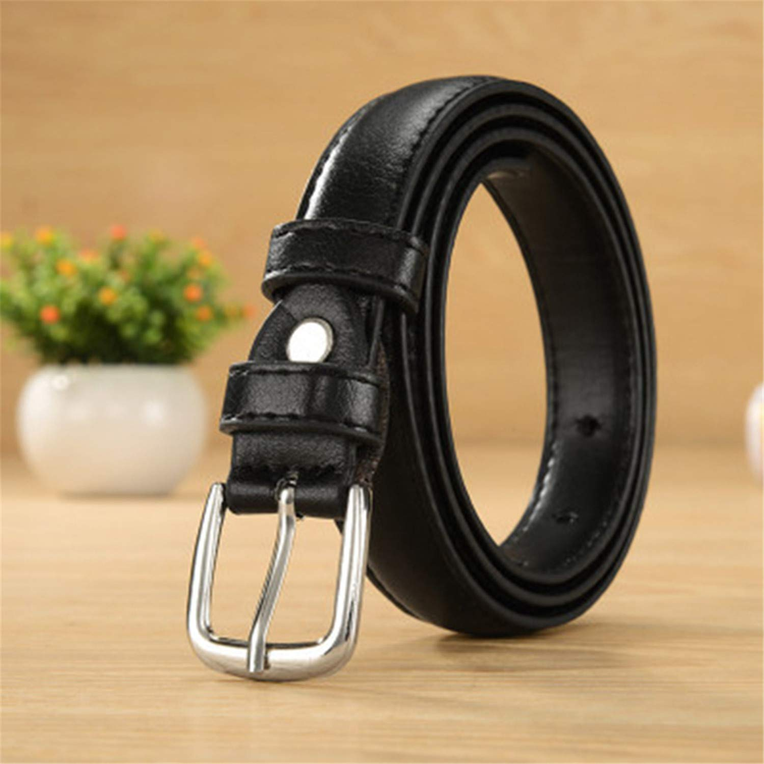Cyose Fashion PU Leather Womens Belt Thin Solid Belts For Women Casual Strap Female Women Belt With Buckle For Jeans