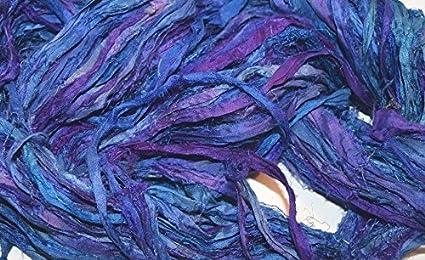 Amazon.com: Lana de cinta de seda Sari reciclada, 10 metros ...