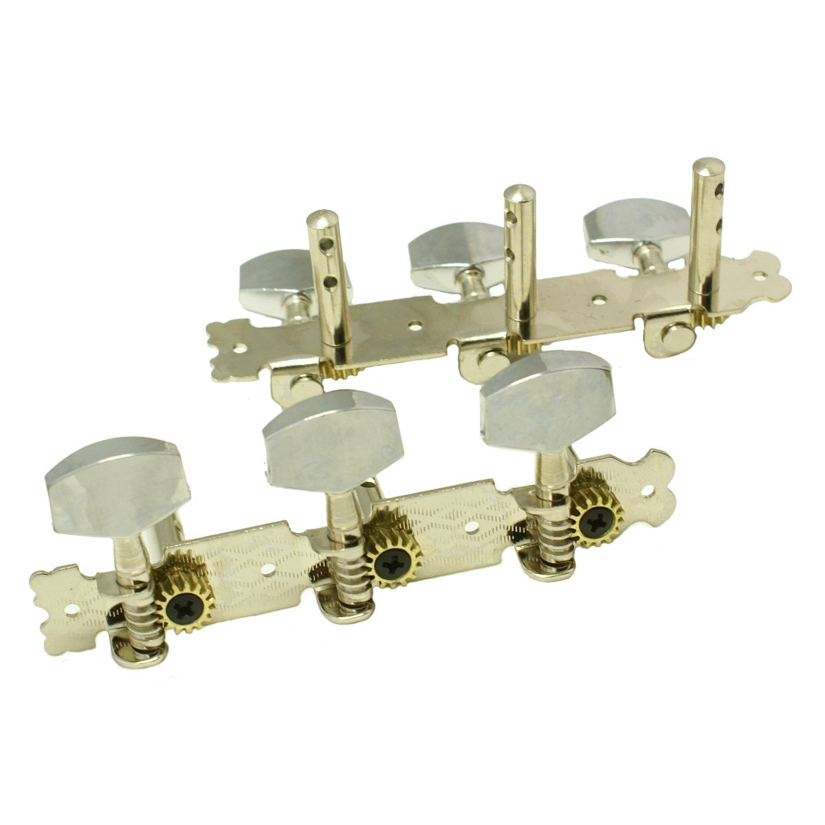 3-on-Plate Classic Acoustic Guitar Tuners Set, Metal knobs Nickel (3x3)