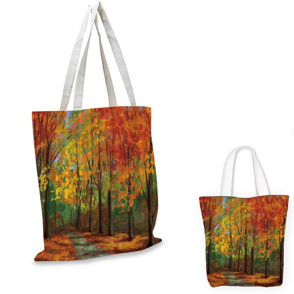 14x16-11 Woodsy shopping tote bag Forest North Woods Falling Leaves Fall Park Road Autumn Leaves Country travel shopping bag Yellow Orange Mustard Green Brown