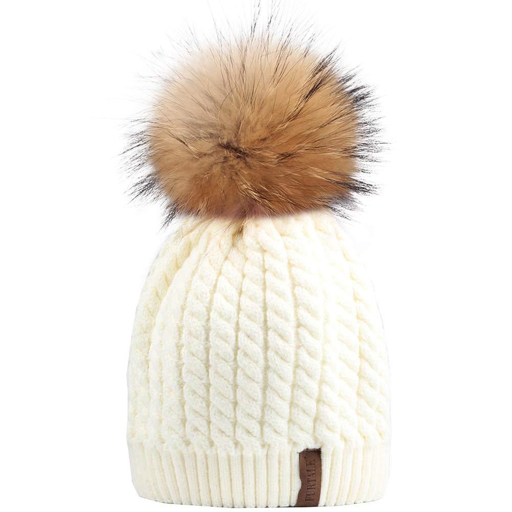 Winter Beanie Hats for Women FURTALK Womens Warm Knit Fur Bobble Pom Pom Hat  double hat-beige a5b056b6d1cb
