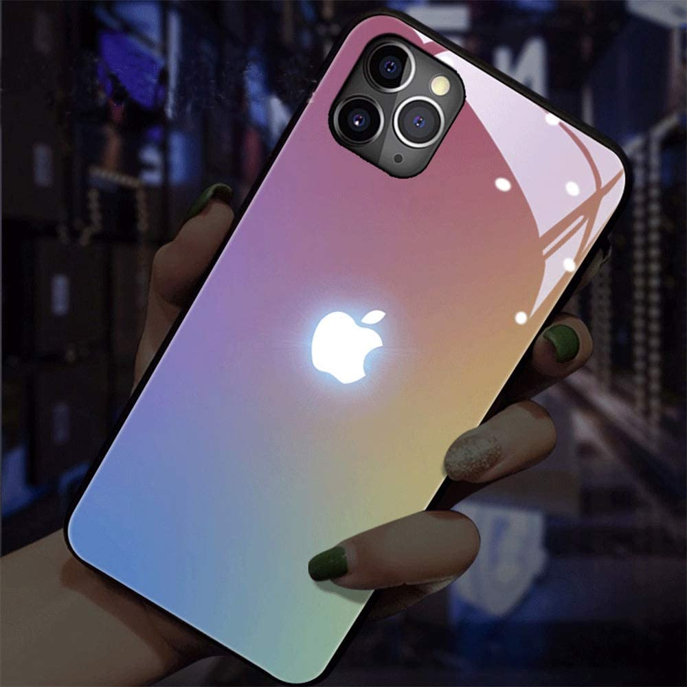 Flash iPhone Case Call Flashing Lights Glowing Glass Anti-Fall Mobile Phone Shell Call LED Flash Tempered Glass Case Shockproof Anti-Scratch Cover for Apple iPhone 11 Pro Max (Gradient Colors)