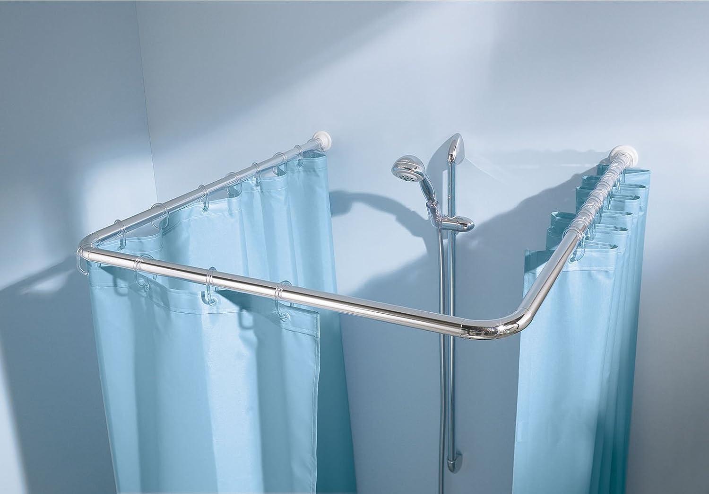 Kleine Wolke 0345101001 - Barra universale per tenda doccia, 3 misure, diametro 25 mm, in metallo cromato