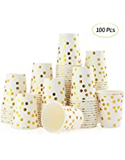Esonmus 100pcs/set 9 oz Gold Dot Stamped Paper Cups Set of 100pcs Paper Cup Golden Polka Dot Disposable Cups Disposable Beverage Cups