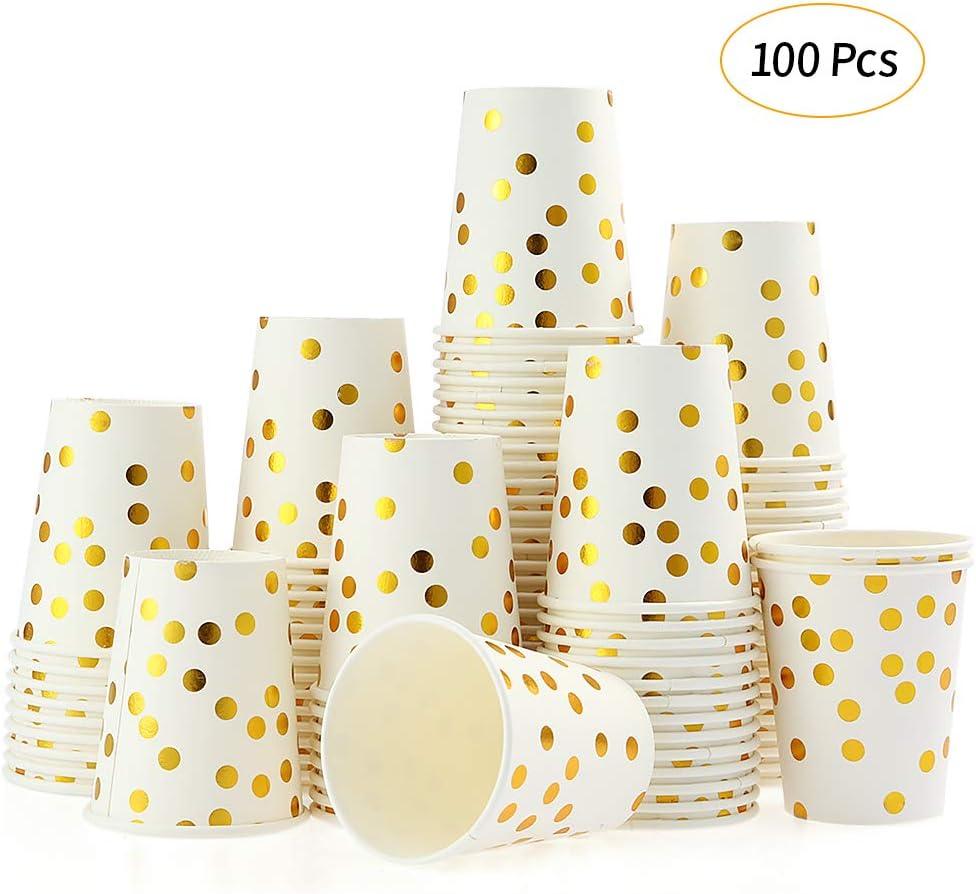 esonmus 100 Piezas Vaso de Papel Vaso Desechable Vaso Desechable para Bebidas Gold Dot 250ml 9oz Bebidas Frías y Calientes