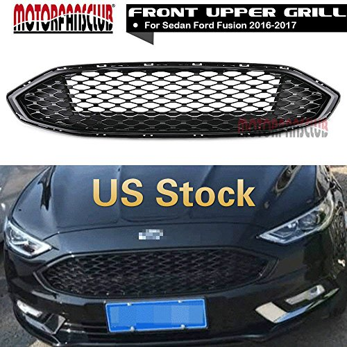 MotorFansClub Front Grille Bumper Honeycomb Paint Gloss Black Mesh Upper Grill for Ford Fusion ()