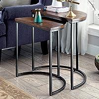 Nesting Table Modern Style Semi-Circle Top Medium Weathered Oak Finish