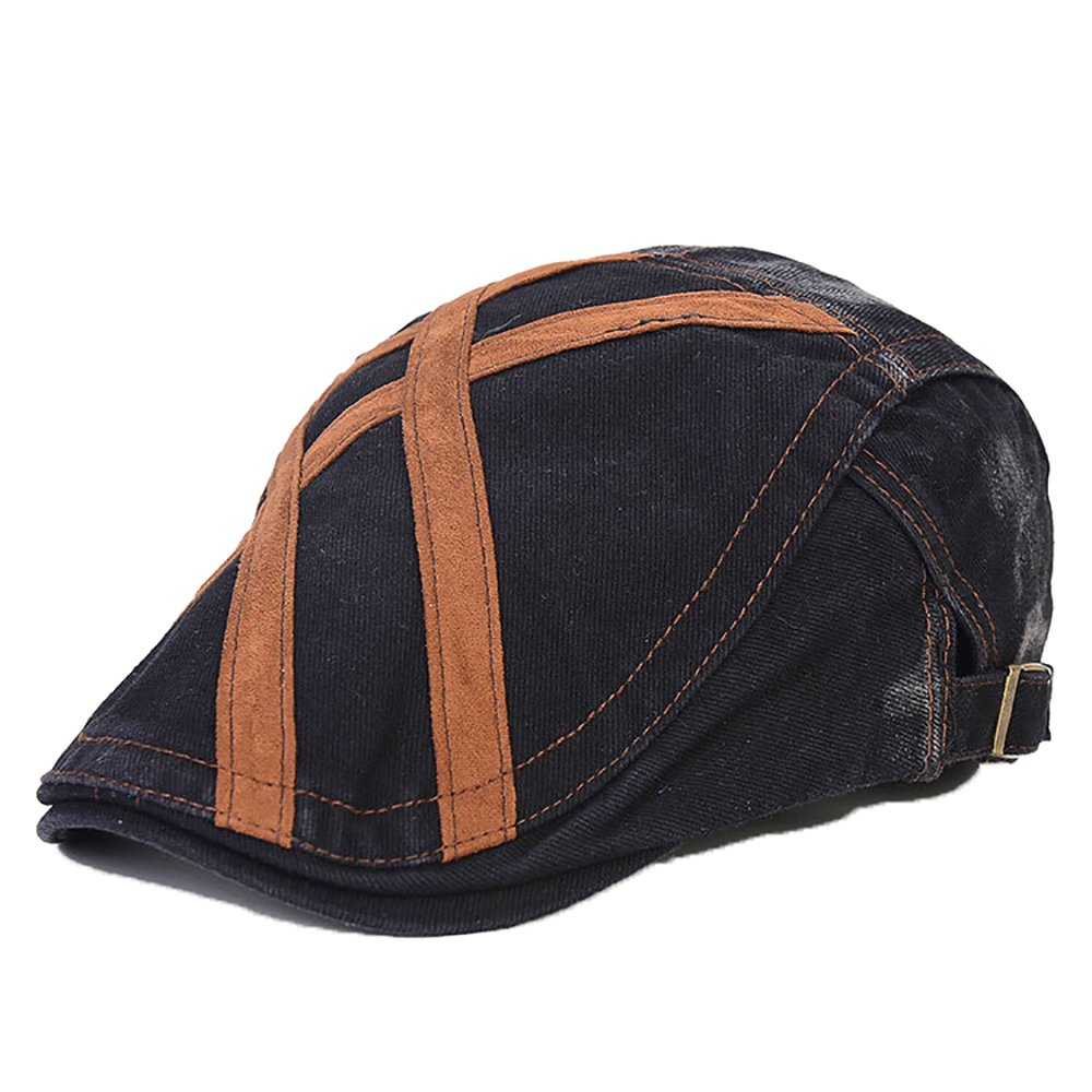 ChezAbbey Summer Ivy Scally Cap Jeans Cabbie Easy Flat Cap Classic Newsboy Hat with Adjustable Strap