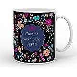 Indigifts Ceramic Mummy Coffee Mug, 330ml (Black Floral, IDSRAA15020)