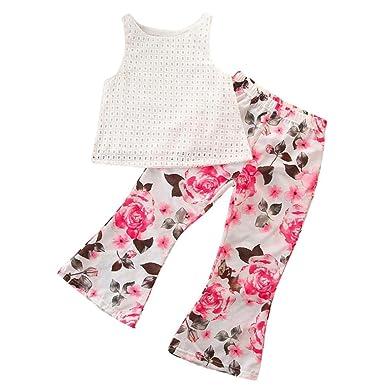91d96c883d65 Amazon.com  Jchen(TM) 2Pcs Kids Baby Girls Solid Printed Sleeveless ...