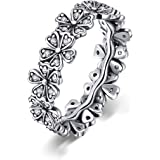 BAMOER 925 Sterling Silver Daisy Ring for Women Sunflower Ring Flower Ring Sterling Silver Engagment Ring Size 6-9