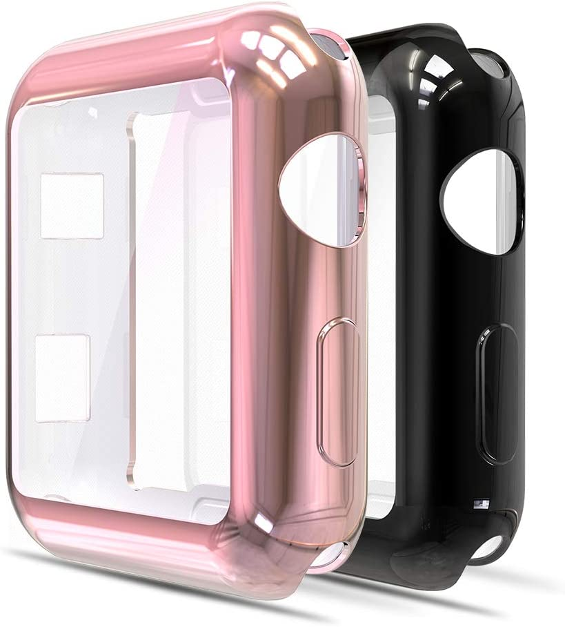Simpeak Soft Screen Protector Bumper Case Compatible with Apple Watch 42mm Series 3 Series 2, Pack of 2, All Around, Plated Rose Gold + Black