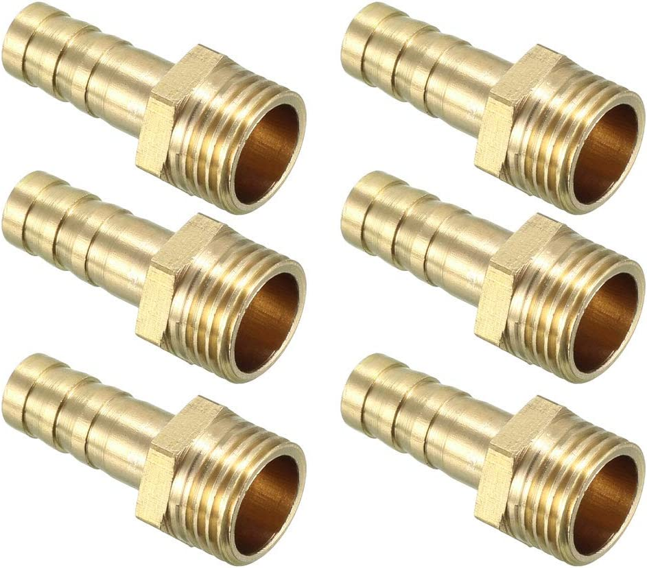 uxcell Brass Barb Hose Fitting Connector Adapters 8mm Barbed x 1/4 PT Male Pipe 6pcs