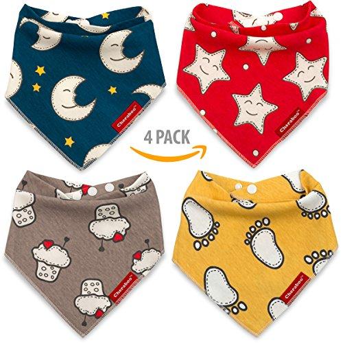 Baby Bibs Bandana Drool Bib 4 Pack Gift Set | Soft 100% Cotton, Super-Cute Reversible Designs, Unisex for Boys or Girls