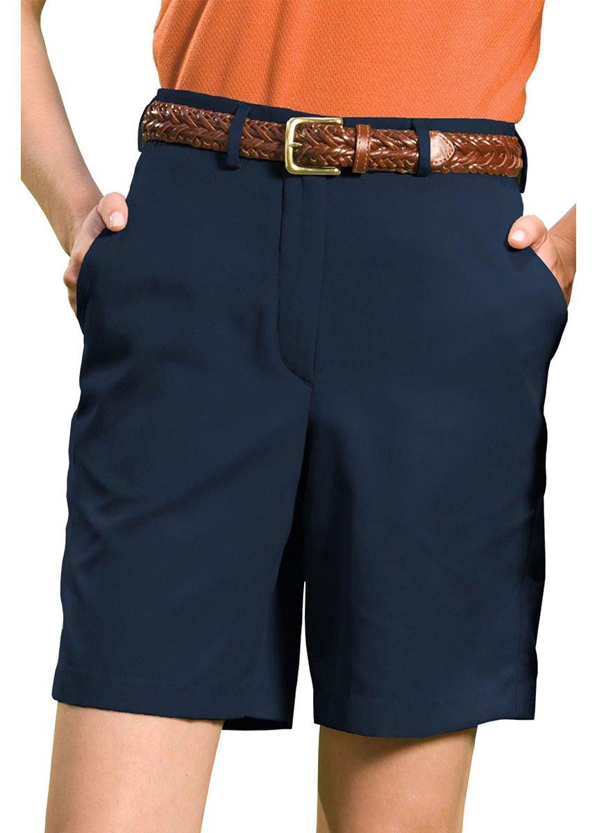 Edwards Garment Women's Wrinkle Resistant Flat Front Short, Navy, 16