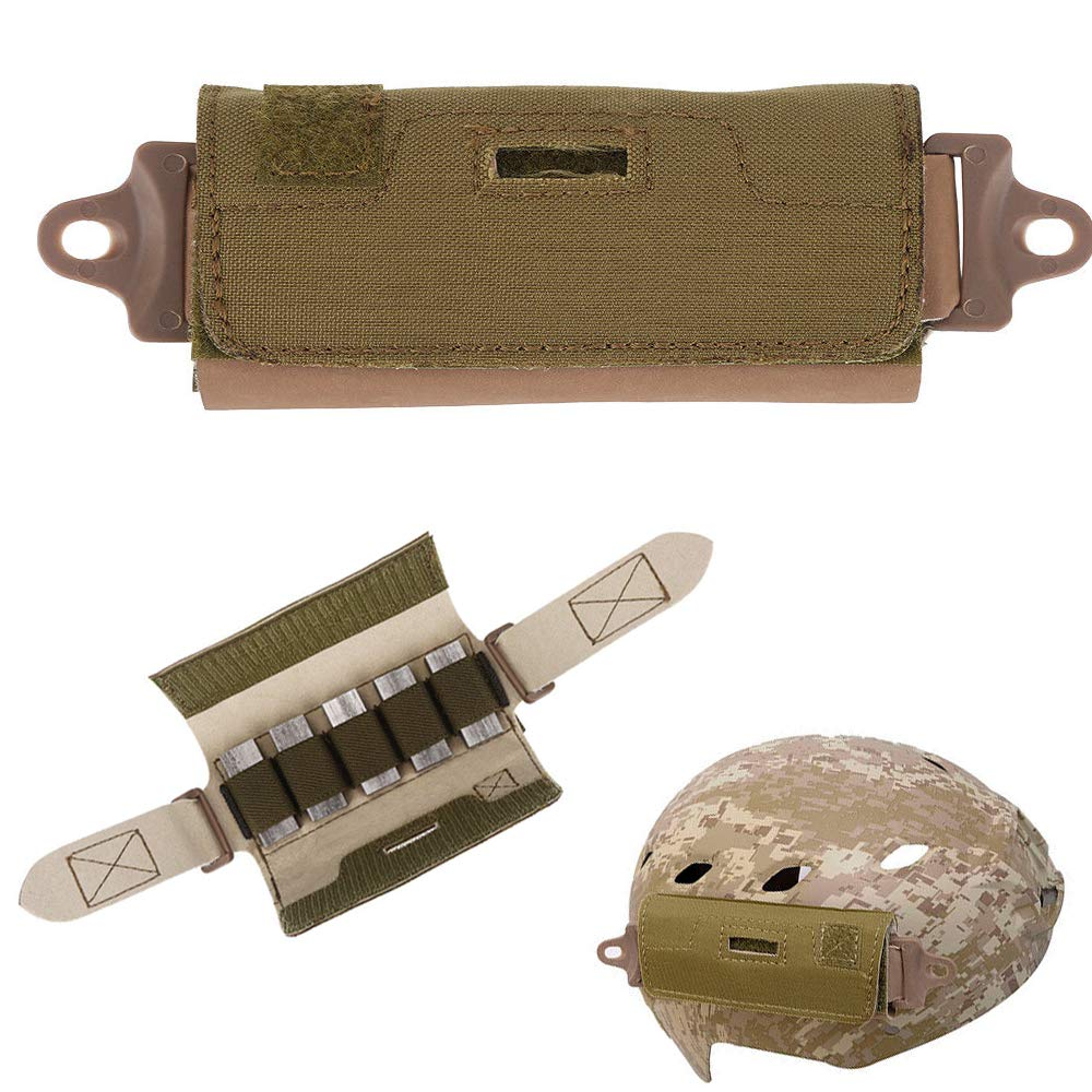 ActionUnion Helmet Tactical Helmet Balancing Counter Weight Bag Helmet Pouch Fast Rear Balance Battery Bags Combat Accessory for ARC Rail OPS/Fast/BJ/PJ/MH Army Hunting Airsoft Paintball (Tan) by ActionUnion