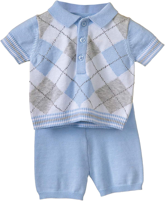 bleu maille Argyle 100/% coton 2 pi/èces BLUES BABY Top et short pour b/éb/é gar/çon