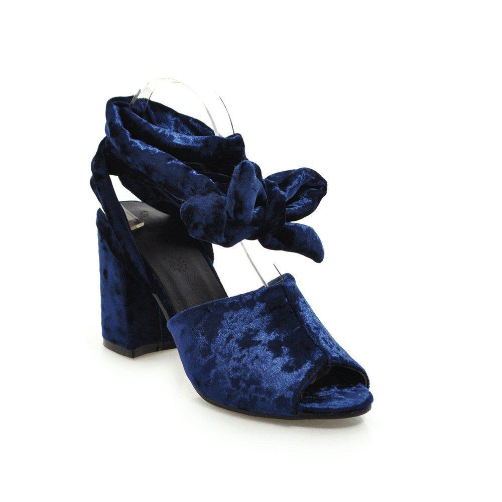 Unbekannt Sandalen Damen High Heel Dick mit Fisch Mund Fußschlaufen Große Römische Schuhe Blau 42