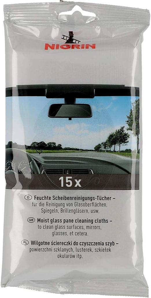 Nigrin Scheiben Reinigungs Tücher Feuchte Tücher Zur Reinigung Von Glasoberflächen Spiegeln Brillengläsern 15 Stück Auto