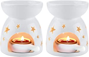 T4U Ceramic Tealight Candle Holder Oil Burner, Essential Oil Incense Aroma Diffuser Furnace Home Decoration Romantic White Set of 2 - Star Patten