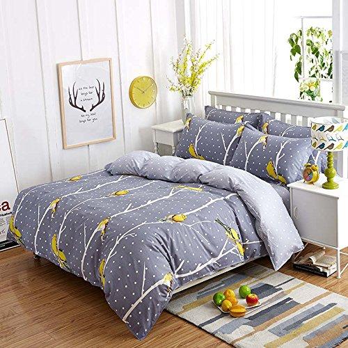 Queen Tina Bird Print 4pc Duvet Cover Set Breathable Cotton Gray Bedding Set Queen Size ()