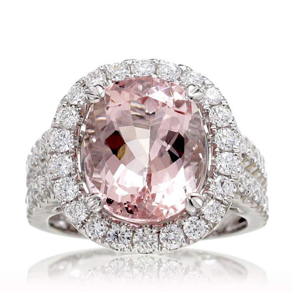Slendima Pink Oval Rhinestone Cubic Zirconia Wedding Engagement Bridal Ring Women Fashion Jewelry Pink US 9