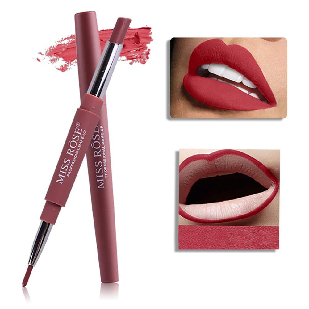 ARTIFUN Matita Labbra Lunga Durata, Rossetto Rosso Matte Shaping Lip Liner lipstick 2 in 1 Lip Pencil