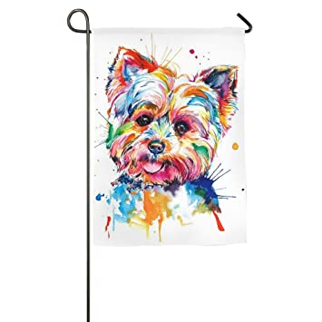 Online Yorkie Dog Animal Fall Porch Yard House Garden Flags 12 X 18 Semi  Transparent Polyester
