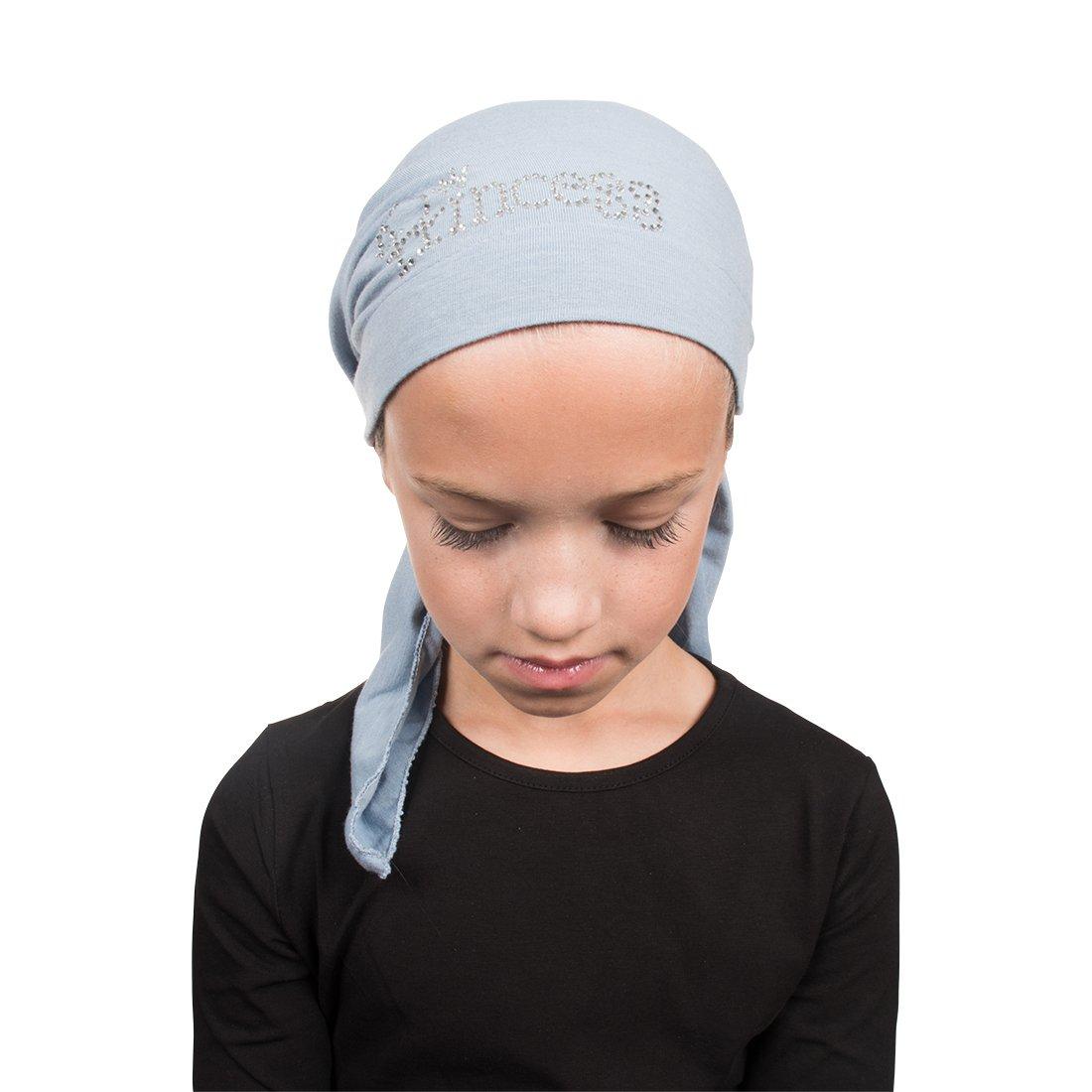 Princess Applique on Child's Pretied Head Scarf Cancer Cap Royal Landana Headscarves ldptk-a21-royal