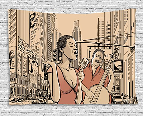 - Ambesonne Jazz Music Decor Tapestry Wall Hanging, an Jazz Singer with Double-Bass Player in a Street of New York Urban Lifestyle, Bedroom Living Room Dorm Decor, 60 W X 40 L Inches, Brown Beige