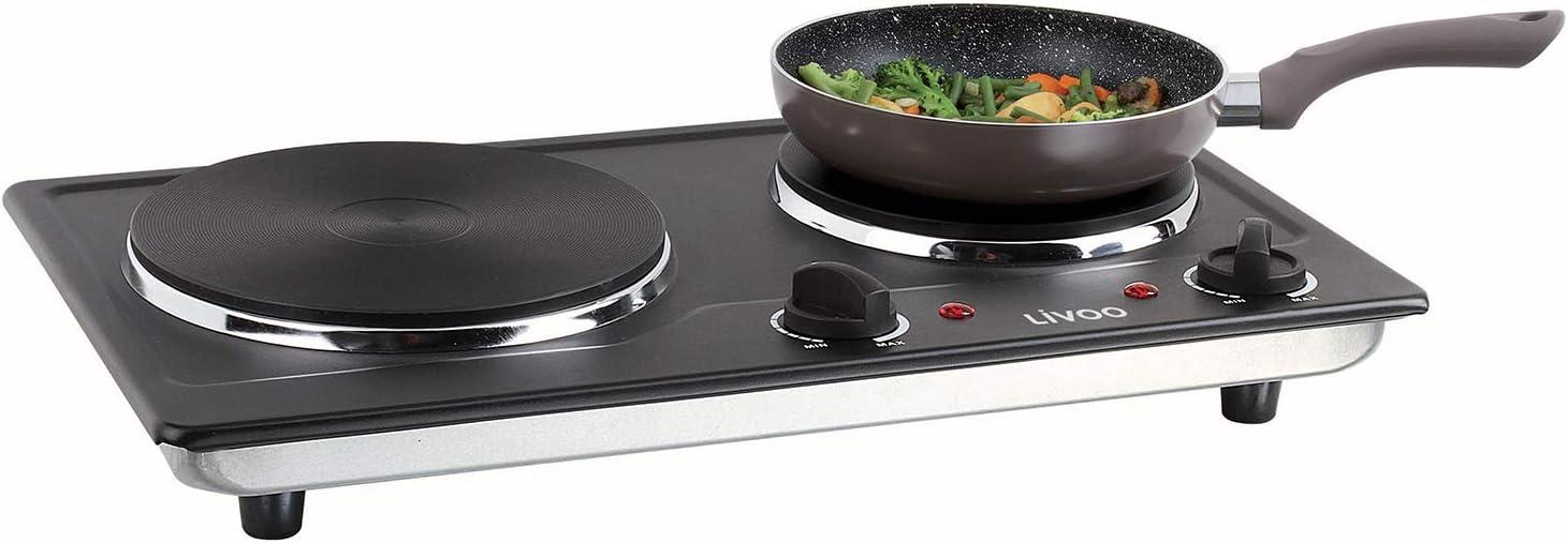 Cocina doble con 2 fuegos para camping, 5 niveles (eléctrica, 2500 W, portátil, 2 termostatos), color negro