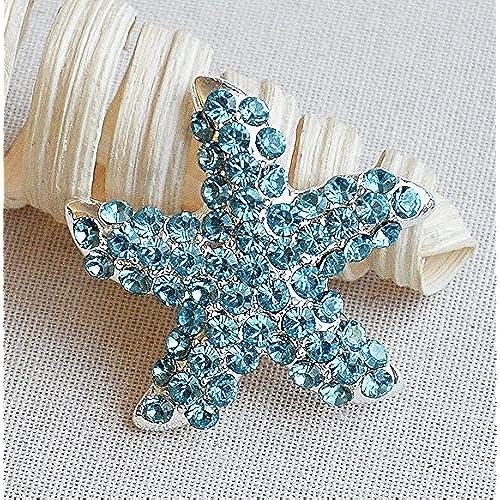 10 pcs Rhinestone Brooch Starfish Crystal Brooch Bridal Brooch Bouquet Napkin Ring Beach Wedding Invitation Aqua Blue Teal Blue BR455