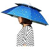 KF047 レジャーハット 折りたたみ傘帽子 かぶる傘 両手が自由 釣りの際の日差しカット 屋外イベント スポーツ 観戦キャンプ 屋外作業 つり用傘 すげ笠 釣り帽子 (青)