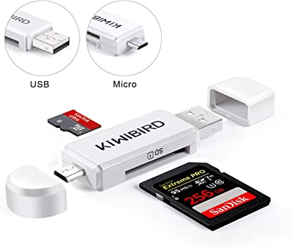 KiWiBiRD Micro USB Adaptador USB 2.0 OTG, Micro USB & USB 2.0 SD/Lectores de Tarjetas Micro SD para Smartphones ...