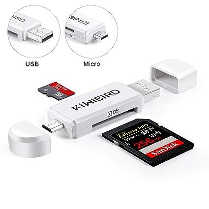 KiWiBiRD Micro USB Adaptador USB 2.0 OTG, Micro USB & USB 2.0 SD/Lectores de Tarjetas Micro SD para Smartphones Android/Tablet con Función OTG, PC, ...