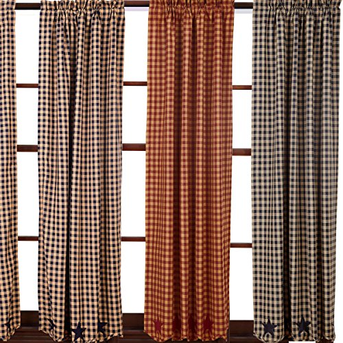 Nancys Nook Star And Check Scalloped Country Curtain Panels Navy