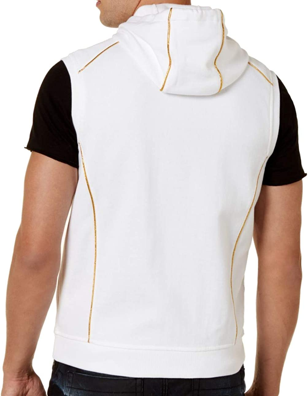 I-N-C Mens Gold Piping Sweater Vest