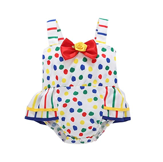 516eb6b06 Baby Girls Colorful Dot Ruffle Rompers Toddler Overall Dress Outfits (3-6M,  Mixed