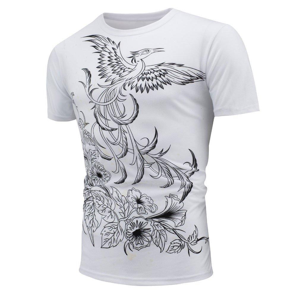 HTDBKDBK Tops T-Shirt for Man Men Summer Personality Tops Shirt Encounter Sun Change Color Short Sleeve Casual T-Shirt White