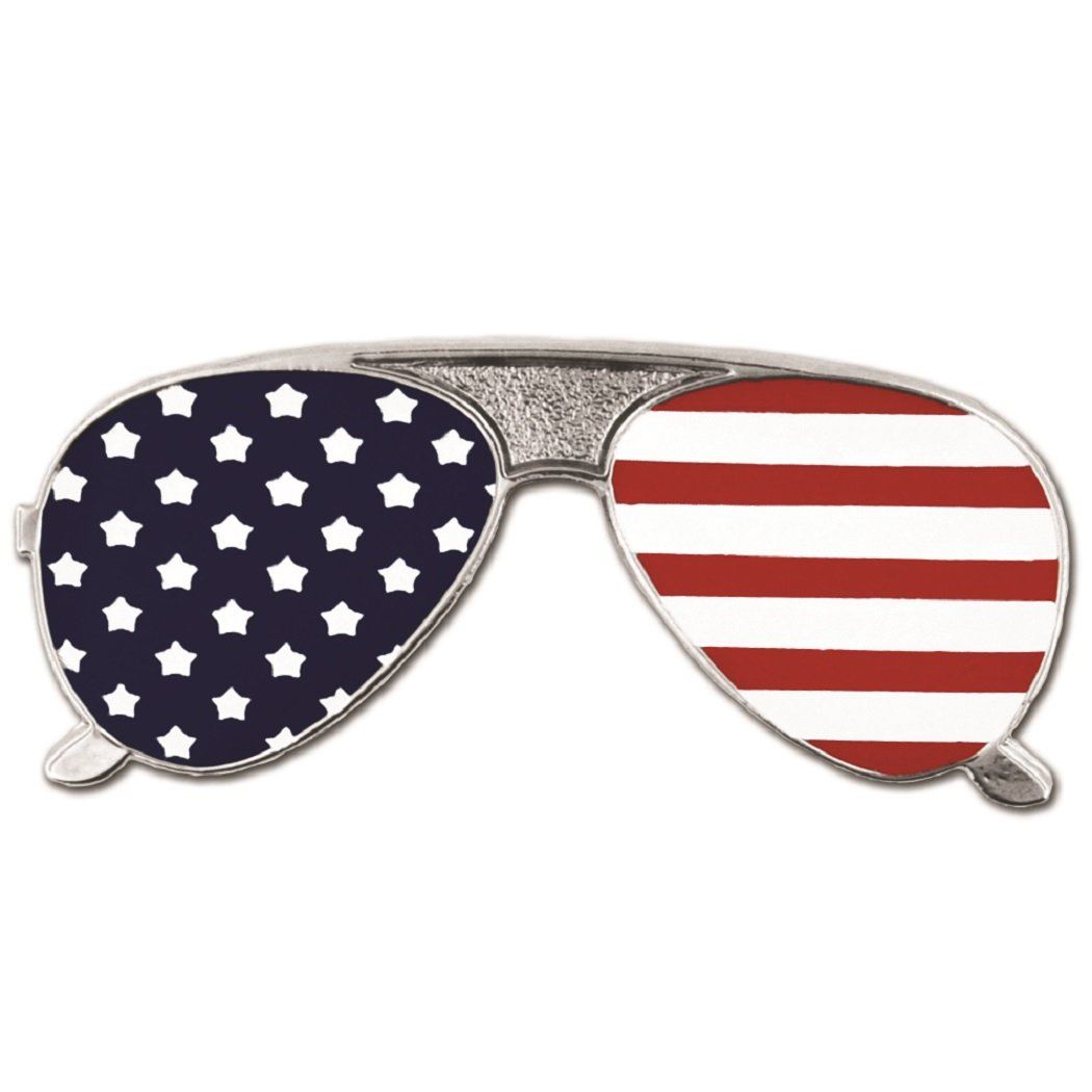 PinMart's American Flag Sunglasses Patriotic Enamel Lapel Pin by PinMart