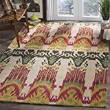 Safavieh Ikat Collection IKT464A Handmade Beige and Yellow Premium Wool Area Rug (9' x 12')