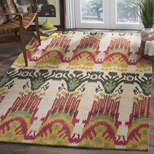Safavieh Ikat Collection IKT464A Handmade Beige and Yellow Premium Wool Area Rug (9' x 12') by Safavieh