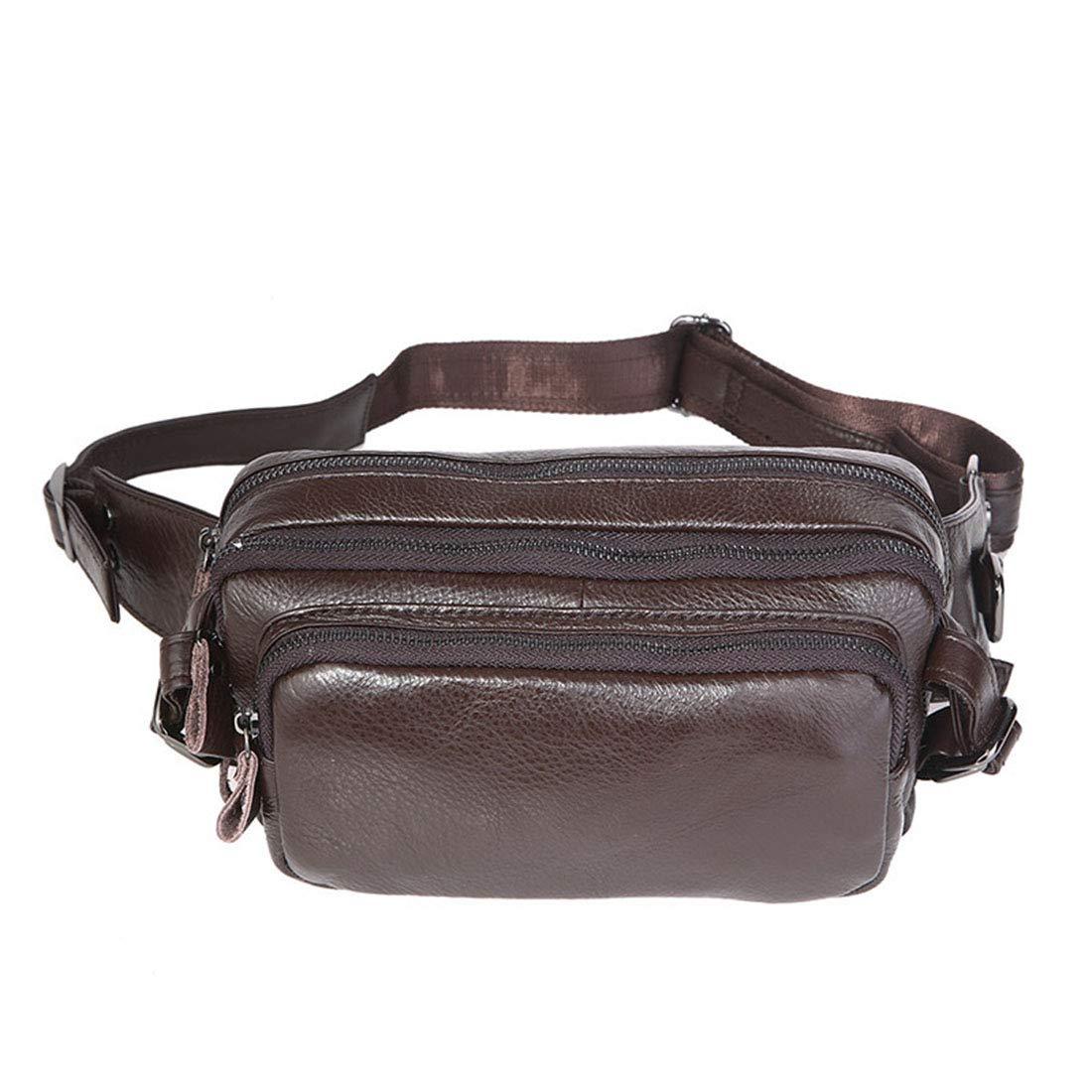 RABILTY Fanny Pack Black Waist Bag Travel Hiking Hip Bum Purse Brown Cowhide Running Belt Waist Pack Color : Photo Color