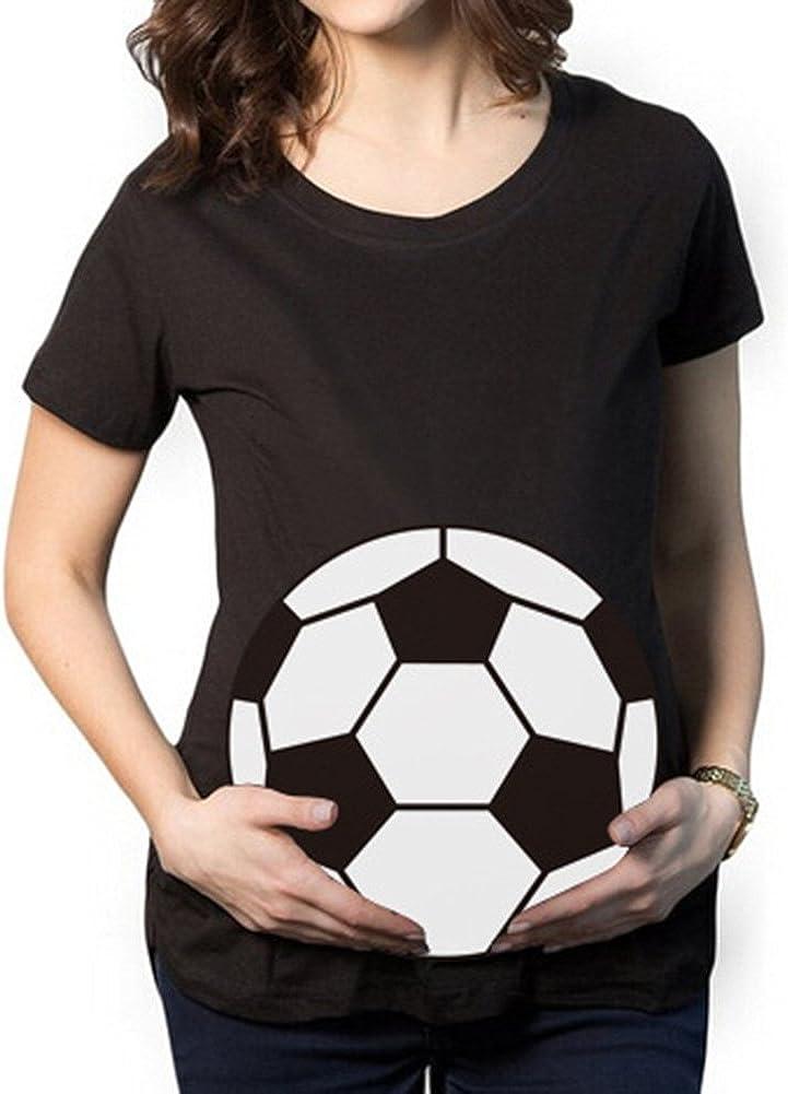 Gagacity Umstandsshirt Fussball Schwangerschaftsshirt Lustig Kurzarm mit Lustigem Druck