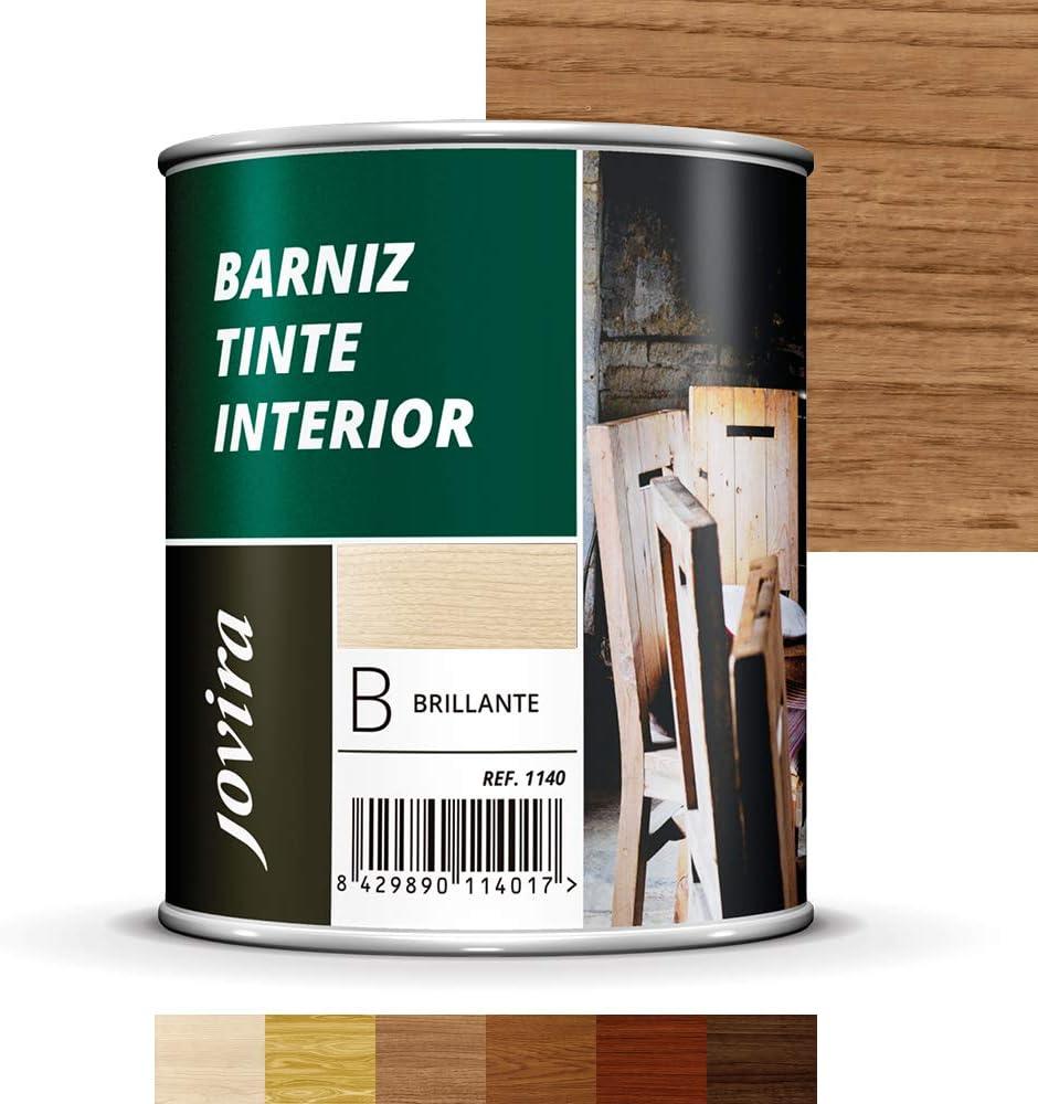 BARNIZ TINTE INTERIOR BRILLANTE, Barniz madera, Protege la madera, Decora y embellece la madera (750ML, CASTAÑO)
