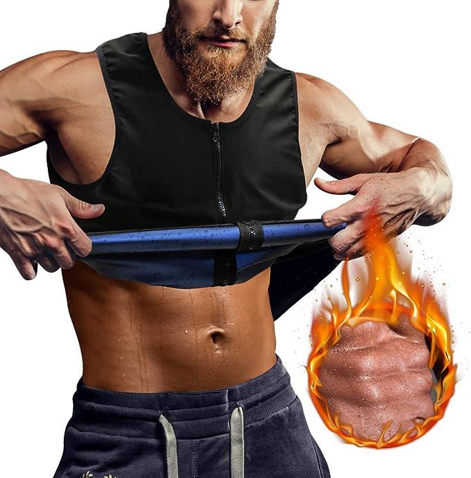 Junlan Sweat Sauna Vest for Men Waist Trainer Vest for Men Heat Trapping Weighted Vest for Men Workout Vest