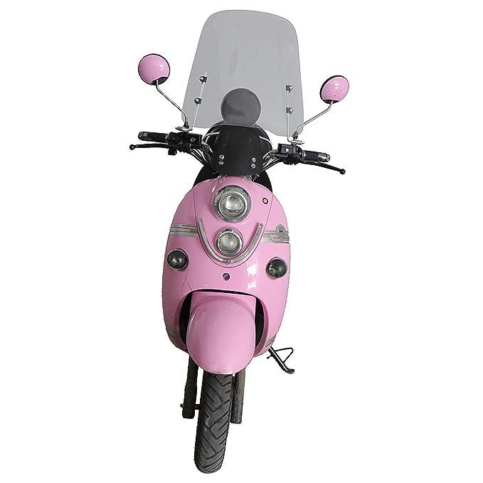 Sutekus Parabrisas el/éctrico para Motocicleta con Parabrisas Delantero HD Transparente Intermitente de Altura 42 cm de Grosor 3 mm